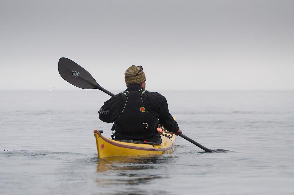Jason Paddles into Haro Strait, San Juan Islands, Washington, US