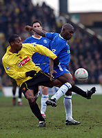 Micah Hyde (Watford) tangles with Geremi (Chelsea) Watford v Chelsea, Vicarage Road, 03/01/2004, F.A. Cup, 3rd Round. Credit : Colorsport / Robin Hume. Digital File Only.