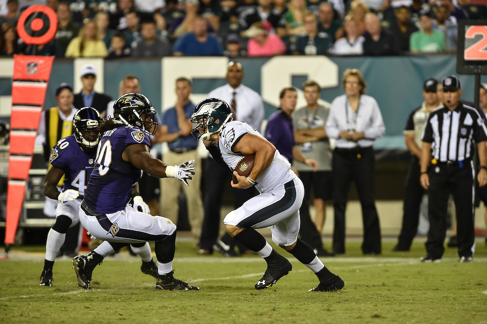 Philadelphia Eagles quarterback Tim Tebow (11) scrambles during the game against the Baltimore Ravens at Lincoln Financial Field on Aug 22, 2014 in Philadelphia, Pa. The Philadelphia Eagles won the game 40-17.(Photo by John Geliebter/Philadelphia Eagles)