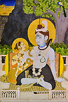 République d'Irlande, Dublin, le musée Chester Beatty, Shiva et Parvati sur le mont Kailash, 19e siècle, Jaipur, Inde // Republic of Ireland, Dublin, Chester Beatty Museum at the castle garden, Shiva and Parvati on Mount Kailash, 19th Century, Jaipur, India