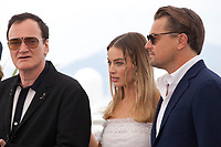 Director Quentin Tarantino, Margot Robbie and Leonardo DiCaprio at Once Upon A Time... In Holywood film photo call at the 72nd Cannes Film Festival, Wednesday 22nd May 2019, Cannes, France. Photo credit: Doreen Kennedy