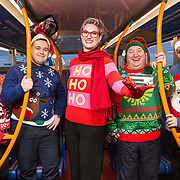 Free Pictures: Stagecoach staff hopped on a state of the art double decker bus to spread the festive cheer while celebrating Christmas Jumper Day and raising cash for its local charity.<br /> <br /> Left to right: Alexis Cairnie, John Tait, Fiona Doherty (Managing Director Stagecoach West Scotland), Billy McCann, JaneYoung.<br /> <br /> Picture Robert Perry 12th December 2019<br /> <br /> Image is free to use in connection with the promotion of the above company or organisation. 'Permissions for ALL other uses need to be sought and payment make be required.<br /> <br /> <br /> Note to Editors:  This image is free to be used editorially in the promotion of the above company or organisation.  Without prejudice ALL other licences without prior consent will be deemed a breach of copyright under the 1988. Copyright Design and Patents Act  and will be subject to payment or legal action, where appropriate.<br /> www.robertperry.co.uk<br /> NB -This image is not to be distributed without the prior consent of the copyright holder.<br /> in using this image you agree to abide by terms and conditions as stated in this caption.<br /> All monies payable to Robert Perry<br /> <br /> (PLEASE DO NOT REMOVE THIS CAPTION)<br /> This image is intended for Editorial use (e.g. news). Any commercial or promotional use requires additional clearance. <br /> Copyright 2019 All rights protected.<br /> first use only<br /> contact details<br /> Robert Perry   <br /> <br /> pictures@robertperry.co.uk  <br /> <br /> <br />        <br /> Robert Perry reserves the right to pursue unauthorised use of this image . If you violate my intellectual property you may be liable for  damages, loss of income, and profits you derive from the use of this image.
