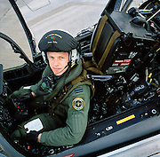 RAF fighter pilot in Harrier ground attack aircraft at RAF Wittering.