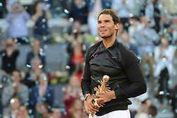 May 14, 2017 - Madrid, Spain - RAFAEL NADAL OF Spain with his trophy after winning the Mutua Madrid Open tennis tournament. (Credit Image: © Christopher Levy via ZUMA Wire)
