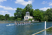 """Henley on Thames, United Kingdom, 22nd June 2018, Friday,   """"Henley Women's Regatta"""",  view, Women's Eight, passes the Folly on Temple Island during the AM Time Trial, Henley Reach, River Thames, England, © Peter SPURRIER/Alamy Live News"""