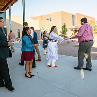 (L-R) Torrie James, 16, Kendra Henry, 17, and Patricia Chavira, 16, greet guests as they arrive to the open house at Rehoboth Christian School in Rehoboth on Sept. 28.