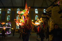 Performers rehearse for the 'Festival of Lights' parade of masked creatures and giant puppets.<br /> The giant puppets are inspired by the Mexican Alebrijes, chimeras of paper mache or carved wood. 'La Fete Des Lumieres' will run from December 6-9.