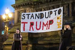 © Licensed to London News Pictures . 20/02/2017 . Manchester , UK . Hundreds of protesters at a Stop Trump demonstration in Albert Square , central Manchester , to coincide with Parliament debating a petition calling for the government to cancel a State Visit by US President Donald Trump . Photo credit: Joel Goodman/LNP