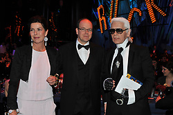 Princess Caroline of Hanover, Prince Albert II of Monaco and Karl Lagerfeld attend the 2009 Monte Carlo Rock' N Rose Ball held at The Sporting Monte Carlo on March 28, 2009 in Monte Carlo, Monaco. Photo by SBM/ABACAPRESS.COM