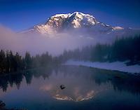The Willis Wall of Mount Rainier's 14,411¬?ft (4,392¬?m) North Face reflected in alpine tarn at Mystic Pass, Mount Rainier National park Washington USA