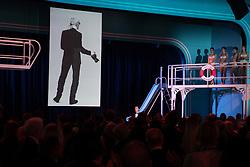 Tribute to German fashion designer Karl Lagerfeld by Stephane Bern during the Rose Ball 2019 at Sporting in Monaco, Monaco. Photo by Palais Princier/Gaetan Luci/SBM/ABACAPRESS.COM