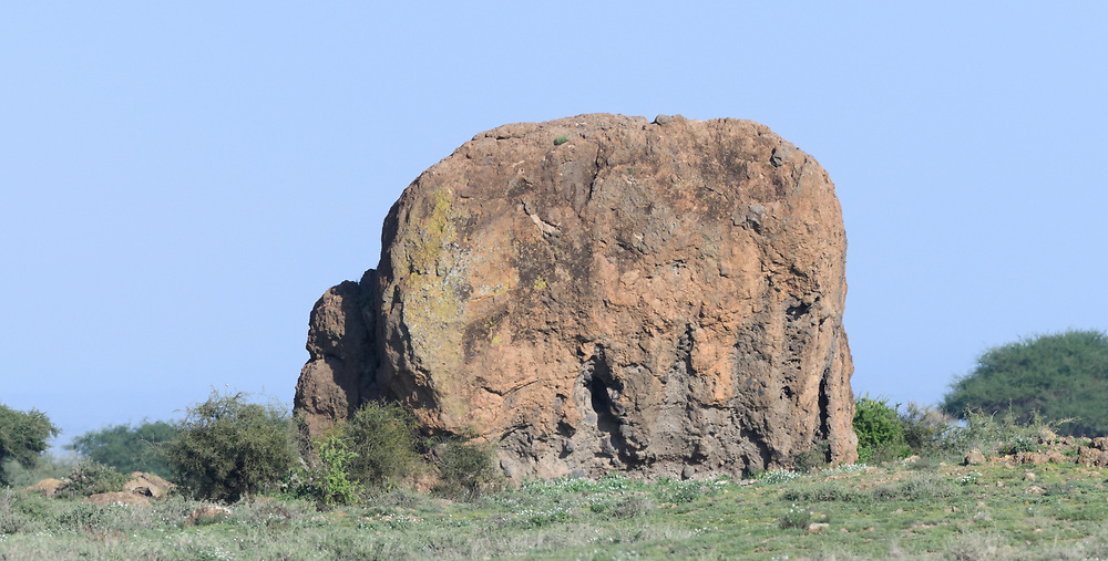 Kruger Rock, a useful landmark in an otherwise flat and featureless terrain. Sinya Wildlife Management Area, Tanzania.