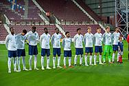 The England team line up before the U21 UEFA EUROPEAN CHAMPIONSHIPS match between Scotland and England at Tynecastle Stadium, Edinburgh, Scotland on 16 October 2018.