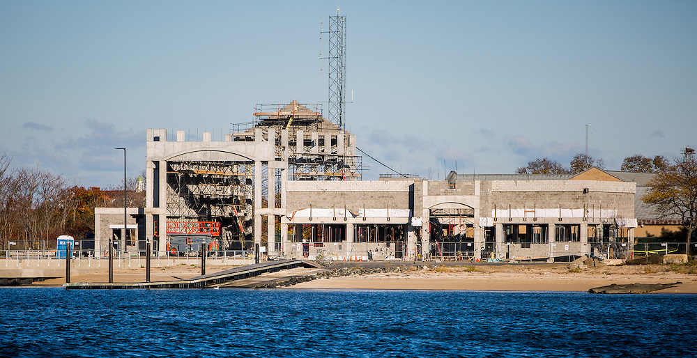 The United States Coast Guard Station Sandy Hook during construction of new buildings and docks on the base that were damaged by superstorm sandy.   The building are also be raised prevent damage to the base from future storms.