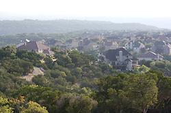 Housing development along Lake Travis in Central Texas.