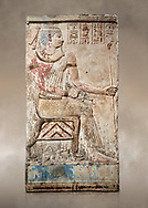 Ancient Egyptian stele of Piamon who drowned in the Nile and was deified like Osiris, Ptlomemaic Period (332-30 BC),  Egyptian Museum, Turin.  Old Fund cat 1556. .<br /> <br /> If you prefer to buy from our ALAMY PHOTO LIBRARY  Collection visit : https://www.alamy.com/portfolio/paul-williams-funkystock/ancient-egyptian-art-artefacts.html  . Type -   Turin   - into the LOWER SEARCH WITHIN GALLERY box. Refine search by adding background colour, subject etc<br /> <br /> Visit our ANCIENT WORLD PHOTO COLLECTIONS for more photos to download or buy as wall art prints https://funkystock.photoshelter.com/gallery-collection/Ancient-World-Art-Antiquities-Historic-Sites-Pictures-Images-of/C00006u26yqSkDOM