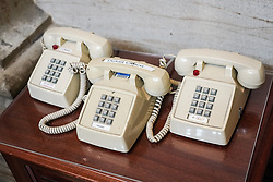 Three old-fashioned telephones in the Capitol building in Washington DC in the United States. From a series of travel photos in the United States. Photo date: Friday, March 30, 2018. Photo credit should read: Richard Gray/EMPICS