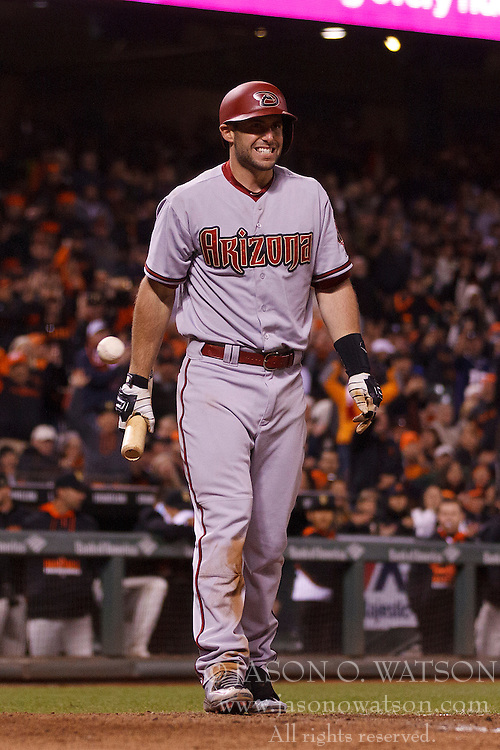 SAN FRANCISCO, CA - APRIL 18:  Paul Goldschmidt #44 of the Arizona Diamondbacks reacts after being called out on a checked swing during the eighth inning against the San Francisco Giants at AT&T Park on April 18, 2015 in San Francisco, California.  The San Francisco Giants defeated the Arizona Diamondbacks 4-1. (Photo by Jason O. Watson/Getty Images) *** Local Caption *** Paul Goldschmidt