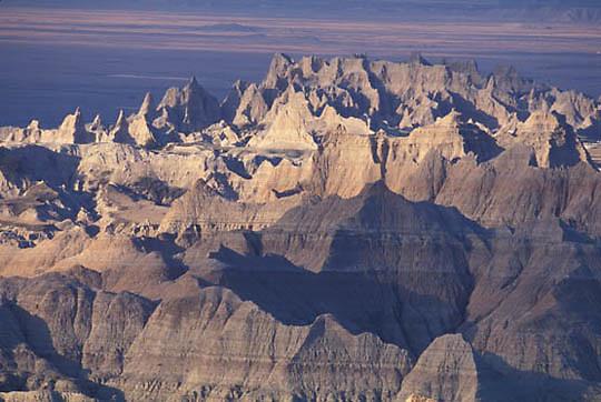 Badlands National Park, Eroded layers of mudstone and siltstone make up the Badlands. South Dakota.