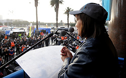 Cape Town - 180714 Executive Mayor Patricia de Lille  send off the Bikers for Mandela from Cape Town's Grand Parade Executive Mayor Patricia De Lille  joined Zelda le Grange, Nelson Mandela Foundation and Desmond and Leah Tutu Legacy Foundation  send off 500 bikers from the Grand Parade in Cape Town as they ride to Drakenstein Prison to raise awareness and funds to keep girls in school. Bikers for Mandela Day collect sanitary supplies for the three million young female learners who miss up to 50 school days a year because they do not have access to sanitary pads. Picture Ayanda Ndamane African News Agency/ANA