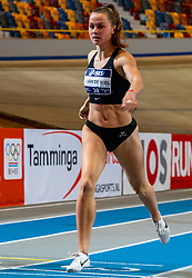 Anne van de Wiel in action on the 1000 meters during the Dutch Athletics Championships on 14 February 2021 in Apeldoorn
