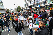 Anti-racism protesters protesting by Notting Hill Underground station in London on Sunday, Aug 30, 2020 - ahead of an announced march along Notting Hill Carnival route. (VXP Photo/ Vudi Xhymshiti)