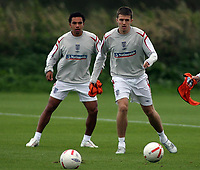 Photo: Paul Thomas.<br /> England Training. 06/10/2006.<br /> <br /> Keiran Richardson and Michael Carrick.