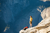 Young woman backpacking in Yosemite National Park, Ca.
