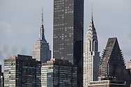 New York, Iconic view of new york with the empire state building and the chrysler building, in the middle the trump tower