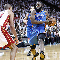 19 June 2012: Oklahoma City Thunder small forward Kevin Durant (35) goes for the layup during the first quarter of Game 4 of the 2012 NBA Finals, Thunder at Heat, at the AmericanAirlinesArena, Miami, Florida, USA.