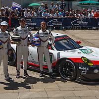 #92, Porsche Motorsport, Porsche 911 RSR (2017), driven by: Michael Christensen, Kevin Estre, Dirk Werner, on 12/06/2017 Scrutineering at the 24H of Le Mans, 2017