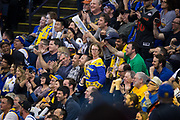 Golden State Warriors fans dance during a timeout against the Boston Celtics at Oracle Arena in Oakland, Calif., on March 8, 2017. (Stan Olszewski/Special to S.F. Examiner)