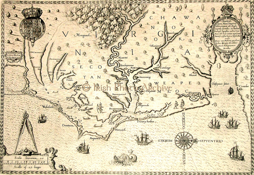 Map of 1590 engraved by Theodore de Bry after watercolour by the English colonist John White, governor of Roanoke. Virginia  and coast with small islands and Roanoke at mouth of river. Secotan and Weapemeoc native lands.
