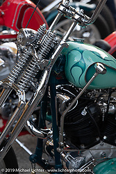 Matt Jackson's custom 1947 Harley-Davidson Knucklehead chopper at the Stampede pre-Born Free gathering and races in the City of Industry, CA, USA. Thursday, June 20, 2019. Photography ©2019 Michael Lichter.