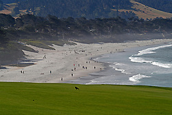 June 11, 2019 - Pebble Beach, CA, U.S. - PEBBLE BEACH, CA - JUNE 11: A general scenic view of the 9th hole taken during a practice round for the 2019 US Open on June 11, 2019, at Pebble Beach Golf Links in Pebble Beach, CA. (Photo by Brian Spurlock/Icon Sportswire) (Credit Image: © Brian Spurlock/Icon SMI via ZUMA Press)