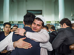 June 15, 2018 - Seoul, Gyeonggi, South Korea - Men greet each other after Eid al Fitr services at Seoul Central Mosque on Eid al Fitr, the Muslim Holy Day that marks the end of the Holy Month of Ramadan. There are fewer than 100,000 Korean Muslims, but there is a large community of Muslim immigrants in South Korea, most in Seoul. Thousands of people attend Eid services at Seoul Central Mosque, the largest mosque in South Korea. (Credit Image: © Jack Kurtz via ZUMA Wire)