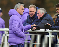 Football - 2019 / 2020 Premier League 2 (Under-23s) - Tottenham Hotspur vs. Liverpool<br /> <br /> Tottenham Manager, Jose Mourinho has a word with Ex Spurs Manager, David Pleat while watching his U'23 team in the first half, at Hotspur Way, Enfield.<br /> <br /> COLORSPORT/ANDREW COWIE