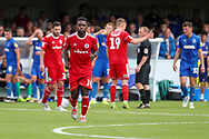 Accrington Stanley defender Zaine Francis-Angol (14) running off the pitch after red card, sent off during the EFL Sky Bet League 1 match between AFC Wimbledon and Accrington Stanley at the Cherry Red Records Stadium, Kingston, England on 17 August 2019.