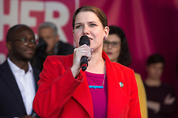 London, UK. 19 October, 2019. Jo Swinson, Leader of the Liberal Democrats, addresses hundreds of thousands of pro-EU citizens at a Together for the Final Say People's Vote rally in Parliament Square as MPs meet in a 'super Saturday' Commons session, the first such sitting since the Falklands conflict, to vote, subject to the Sir Oliver Letwin amendment, on the Brexit deal negotiated by Prime Minister Boris Johnson with the European Union.