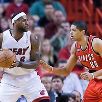 08 March 2011: Portland Trail Blazers small forward Nicolas Batum (88) defends on Miami Heat small forward LeBron James (6) during the Portland Trail Blazers 105-96 victory over the Miami Heat at the AmericanAirlines Arena, Miami, Florida, USA.