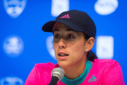 August 15, 2018 - Garbine Muguruza of Spain talks to the press after losing her second-round match at the 2018 Western & Southern Open WTA Premier 5 tennis tournament. Cincinnati, Ohio, USA. August 15th 2018. (Credit Image: © AFP7 via ZUMA Wire)