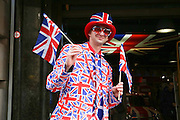 Union Jack man on route during the Aviva Tour of Britain London Stage eight, Regent Street, London, United Kingdom on 13 September 2015. Photo by Phil Duncan.