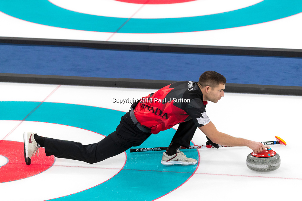 John Morris (CAN) competing in the Mixed Doubles Curling round robin at the Olympic Winter Games PyeongChang 2018