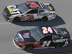April 29, 2018 - Talladega, AL, U.S. - TALLADEGA, AL - APRIL 29: Ryan Newman, Richard Childress Racing, Chevrolet Camaro Caterpillar (31) and William Byron, Hendrick Motorsports, Chevrolet Camaro Liberty University (24) race side by side during the Monster Energy Cup Series 49th Annual Geico 500 on April 29, 2018, at Talladega Superspeedway in Talladega, AL. (Photo by Jeffrey Vest/Icon Sportswire) (Credit Image: © Jeffrey Vest/Icon SMI via ZUMA Press)
