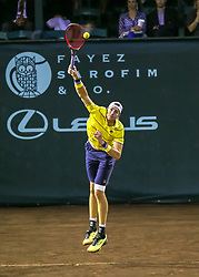April 13, 2018 - Houston, TX, U.S. - HOUSTON, TX - APRIL 13:  John Isner of the United States prepares to serve the ball in the match against Steve Johnson of the United States during the Quarterfinal round of the Men's Clay Court Championship on April 13, 2018 at River Oaks Country Club in Houston, Texas.  (Photo by Leslie Plaza Johnson/Icon Sportswire) (Credit Image: © Leslie Plaza Johnson/Icon SMI via ZUMA Press)
