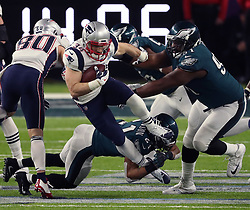 February 4, 2018 - Minneapolis, Minnesota, U.S. - New England Patriots running back Rex Burkhead (34) runs through a tackle in the fourth quarter of Super Bowl LII. The Eagles won, 41-33. (Credit Image: © Jeff Wheeler/TNS via ZUMA Wire)
