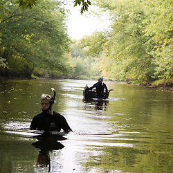 Searching for freshwater mussels in the Ashuelot River, Keene, New Hampshire.