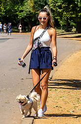 © Licensed to London News Pictures. 17/07/2020. London, UK. A young women enjoys the sunshine while walking her dog in Hyde Park as weather forecasters predict 28c for the end to the week but with rain on Sunday. As Prime Minister Boris Johnson calls for Britons to return to working in offices to help local service industries and the economic recovery. Photo credit: Alex Lentati/LNP