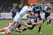 Cardiff Blues scrum half Lloyd Williams (with ball) is clattered by Leinster's Fergus McFadden (orange boots) which led to a yellow card for the Leinster player. Guinness Pro12 rugby match, Cardiff Blues v Leinster Rugby at the Cardiff Arms Park in Cardiff, South Wales on Saturday 20th Feb 2016.<br /> pic by Carl Robertson, Andrew Orchard sports photography.
