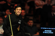 Ronnie O'Sullivan in action during his victory over Xiao Guodong.  Bet Victor Welsh open snooker at the Newport centre in Newport, South Wales on Wed 26th Feb 2014.<br /> pic by Andrew Orchard, Andrew Orchard sports photography.